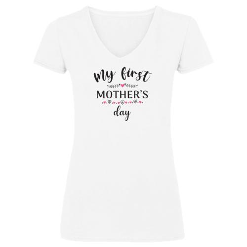 """""""My first mother's day"""" rózsaszín mintás anyák napi póló"""